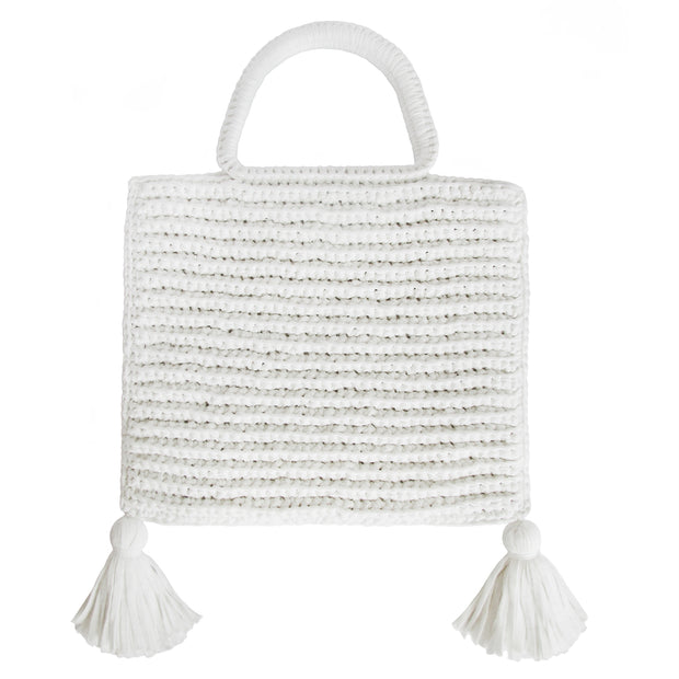 Handcrafted Cotton Tassel Tote bag in White by Binge Knitting