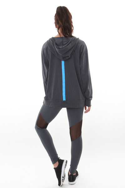 Cyan Hoodie Heather Charcoal/Aqua
