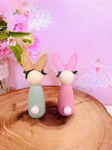 Bunny rabbit peg dolls floral and glitter ears