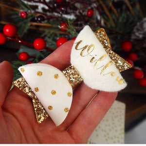 Gold Spotty Personalised Bow