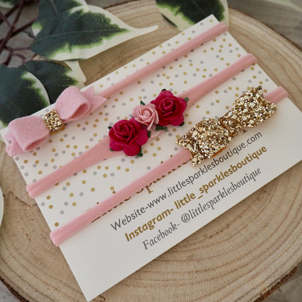 Pink gold and flower headband