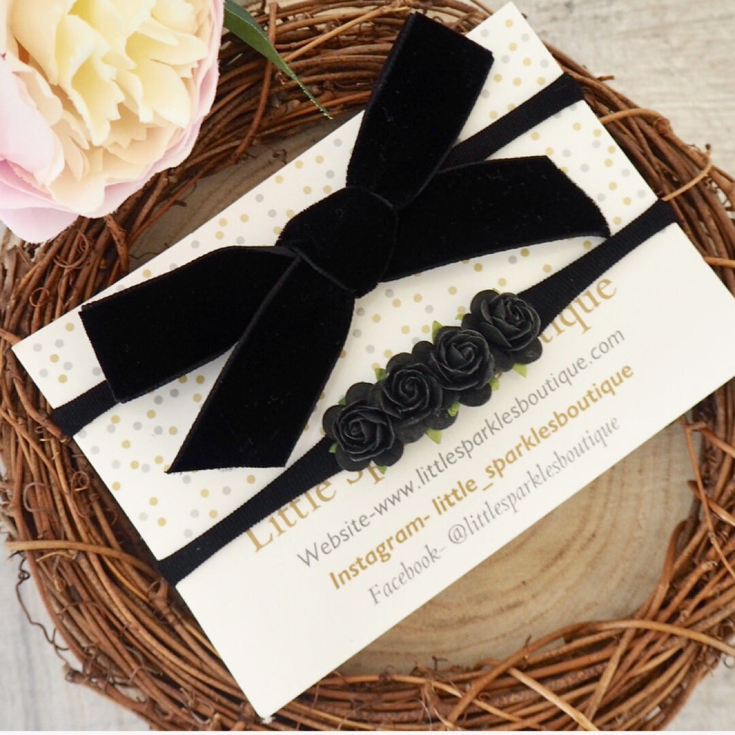 Black Velvet Flower Set