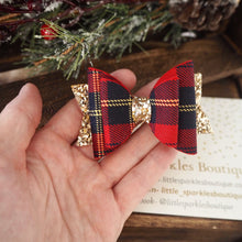 Red And Navy Tartan Bow