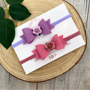 Rose And Lilac Bow Set
