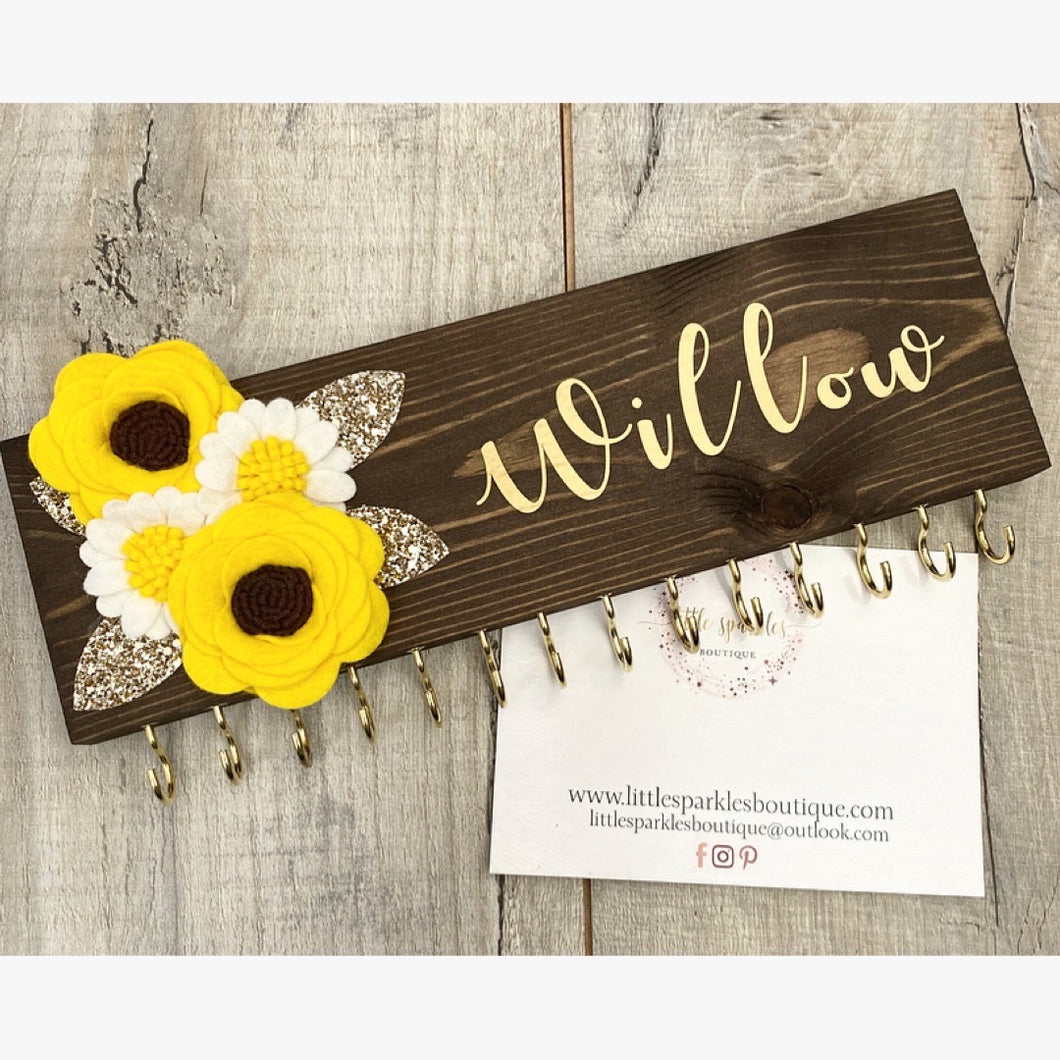 Personalised Sunflower Bow Holder
