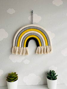 Childrens decor rainbow macrame wall hanging multicolour