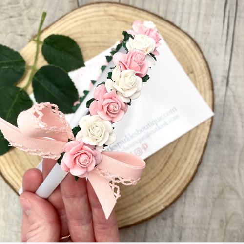White And Pink Floral Alice Band