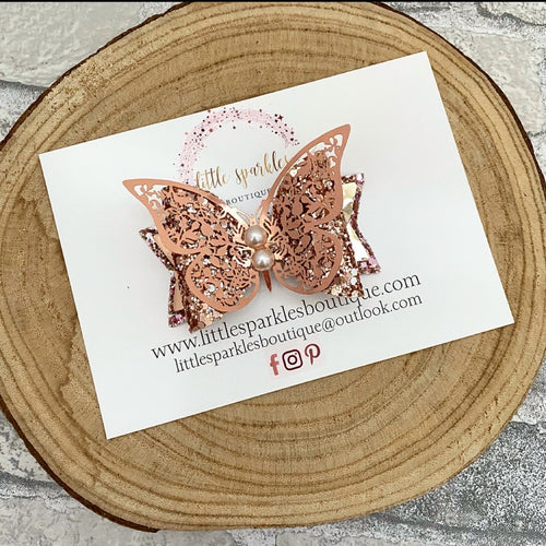 Rose Gold Pearl Butterfly