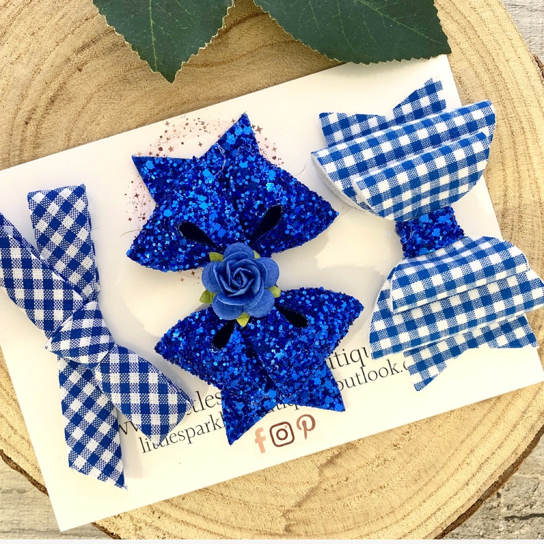 Royal Blue School Bow Set
