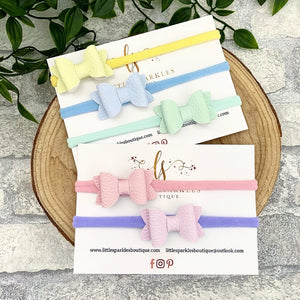 Pastel Faux Leather Baby Bows
