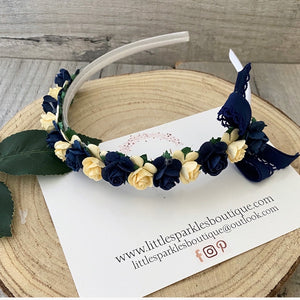 Navy And Pale Yellow Alice Band