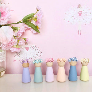 Rainbow Floral Peg Dolls