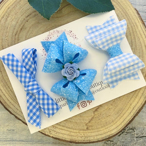 Light Blue School Bow Set