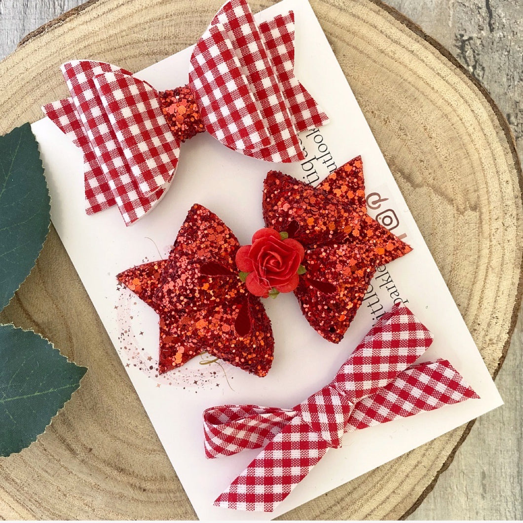 Red School Bow Set