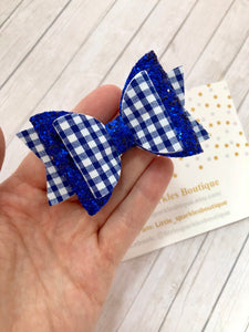 Royal blue school bow