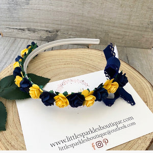 Navy And Bright Yellow Alice Band