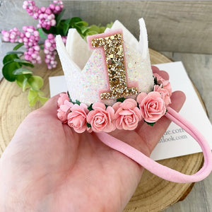 White Pink Floral Glitz Crown