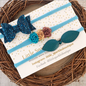 Teal Floral Bow Set