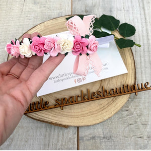 Pink Floral Alice Band