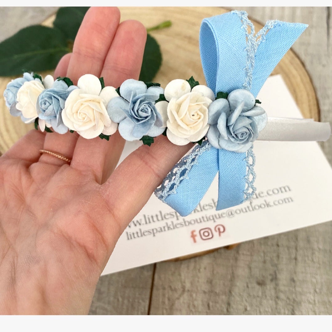 Baby Blue And White Floral Alice Band