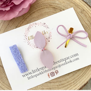 3 Mini Tie And Lilac Glitter Set