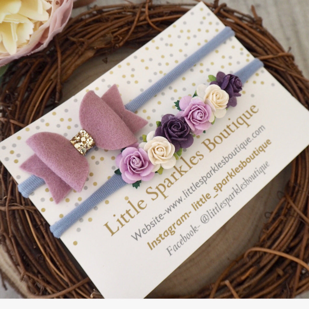 Lilac Bow And Flower Bow Set