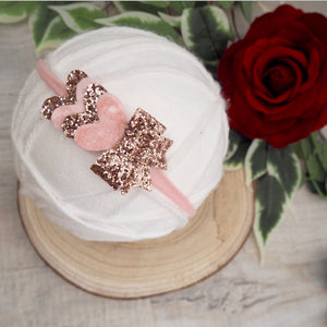 Pink And Rose Gold Heart Headband