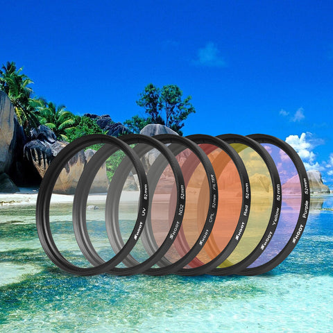 52mm Red Yellow Purple Clear CPL ND UV Filter Set with Adapter Ring for GoPro Hero 4 3+
