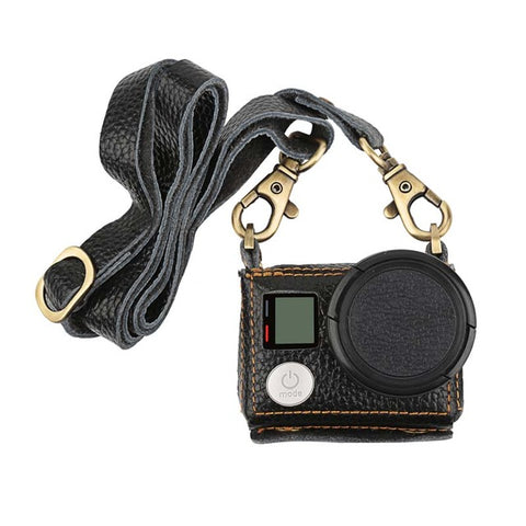 Leather Protective Case With Lens Cover and Sling Mount for Gopro Hero 4 3+ Action Camera