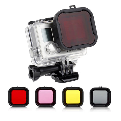Waterproof Case Lens Filter for GoPro Hero 4 3+/4 Action Camera (Yellow, Purple, Grey or Red)