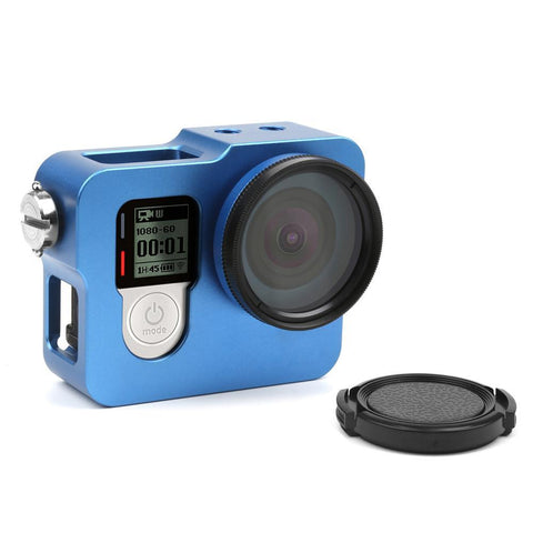 Aluminum Alloy Protective Frame Case with Go Pro UV Filter Lens Cap for GoPro Hero 4