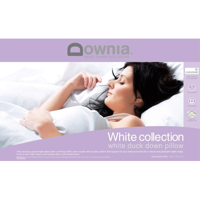 Downia White Collection 85% Duck Down Pillow