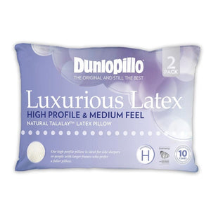 Dunlopillo Luxurious Latex High Profile & Medium Feel Pillow (2 Pack)