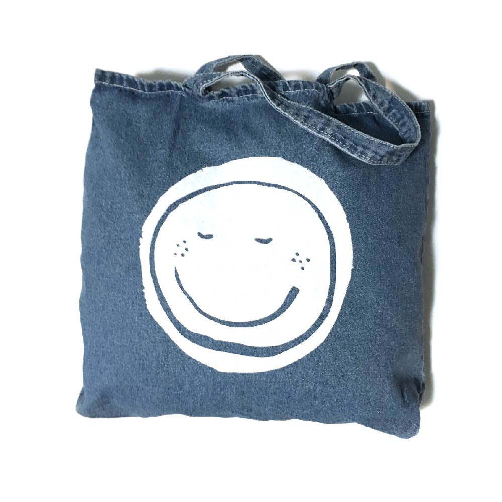 Don't Worry, Be Human Denim Tote Bag
