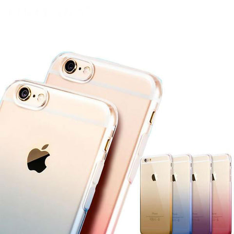 Clear Gradient Soft Dual Silicon Gel Case For iPhone 6 6s 6s Plus