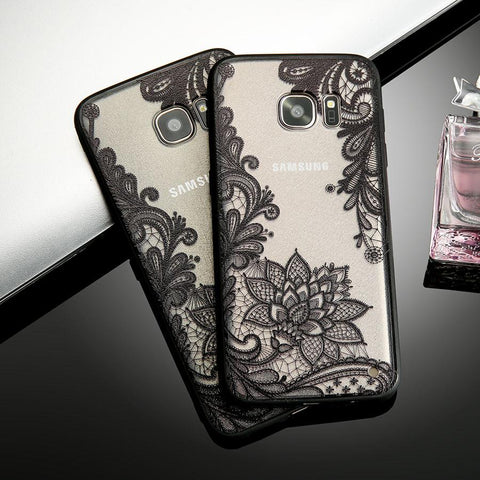 Retro Lace Flower Phone Case For Smasung Galaxy S8 Plus S7 S6 Edge