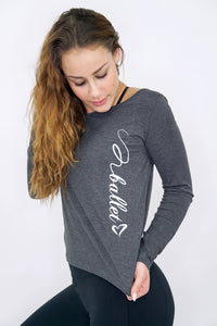 B004- Open back ballet long sleeve