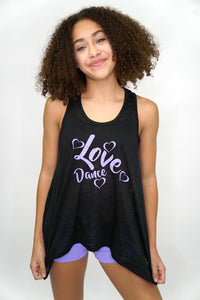 L1854- Love Dance Heart Flowy Tank