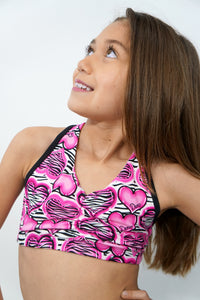 813- Zebra Dance heart scrunch back bra top