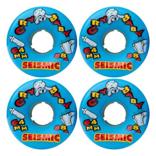 Seismic Wheels - Crybaby 88A Blue/Elixir - 64mm