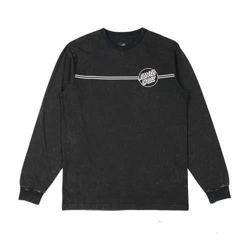 Santa Cruz - Opus Dot Stripes Long Sleeve Tee - Light Acid Black