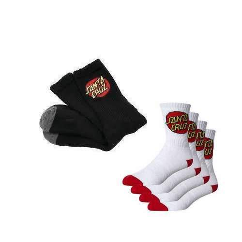 Santa Cruz Dot Youth Socks - 4 Pairs - Black OR White Available