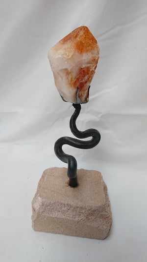 """Line Of Least Resistance"", forged iron and citrine crystal sculpture"