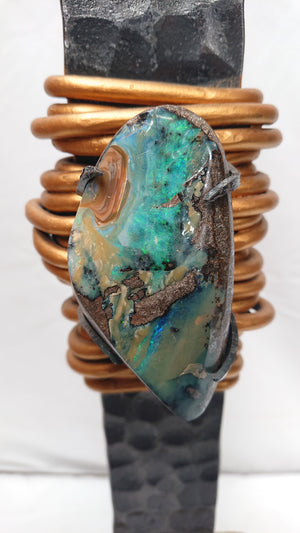 """Earring"" sculpture with opal"