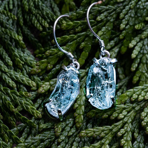 Silver earrings aquamarine stone Talisman Gallery