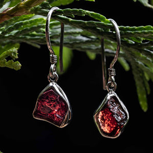 Untamed Drop Earrings  - Garnet Bezel Setting