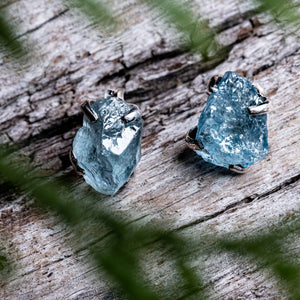 Untamed Stud Earrings - Aquamarine Claw Setting
