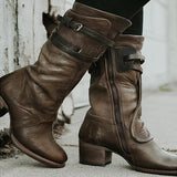 2lovit Zipper Leather Ankle Boots