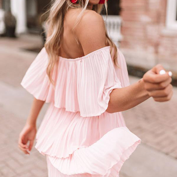 2lovit Off Shoulder Pink Dress