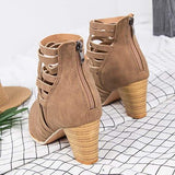 2lovit Leather Hollow High Heel Booties